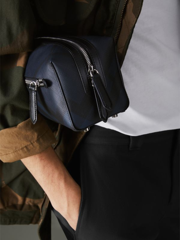 London Check and Leather Pouch in Navy/black | Burberry Canada - cell image 3