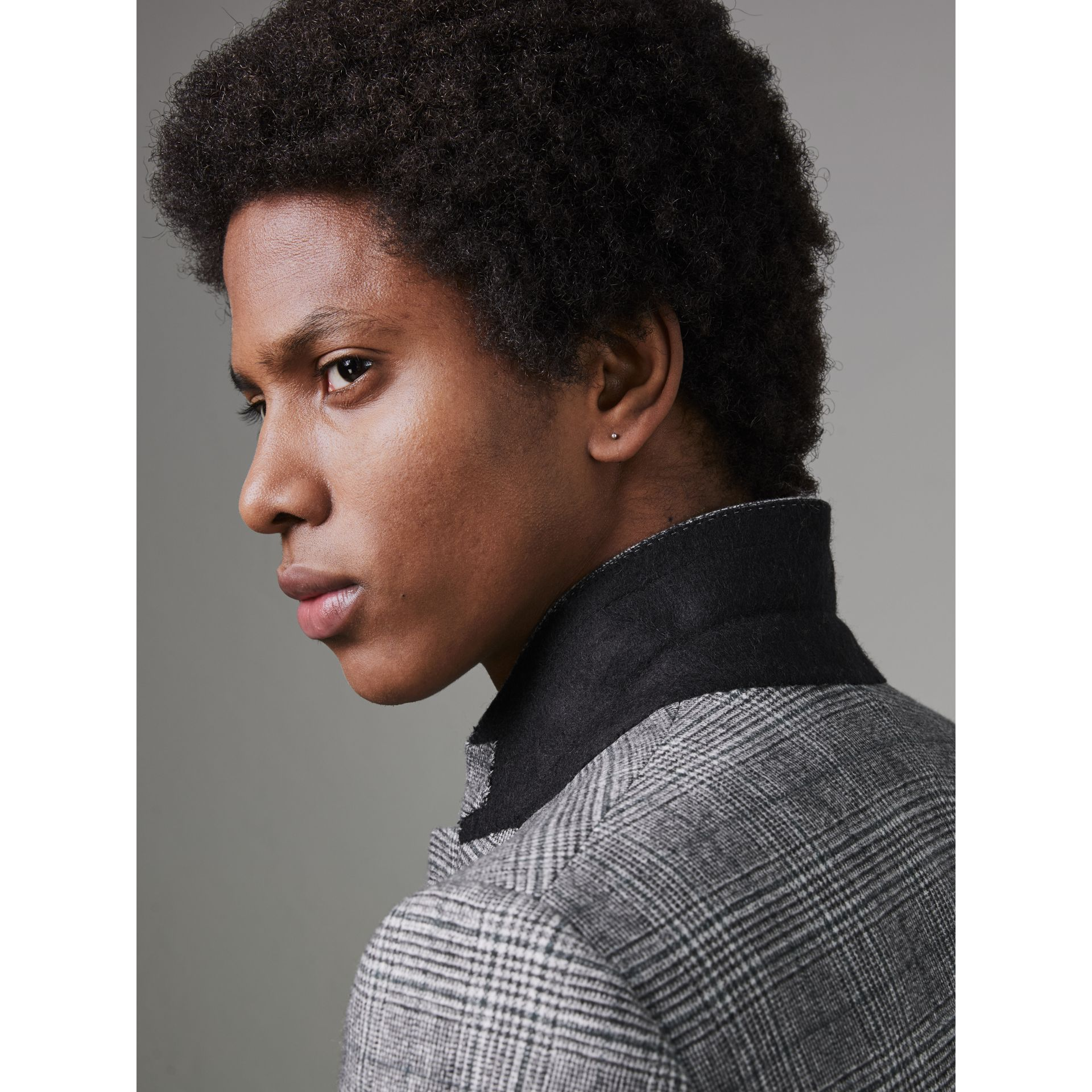 Slim Fit Prince of Wales Check Wool Tailored Jacket in Mid Grey Melange - Men | Burberry Canada - gallery image 4