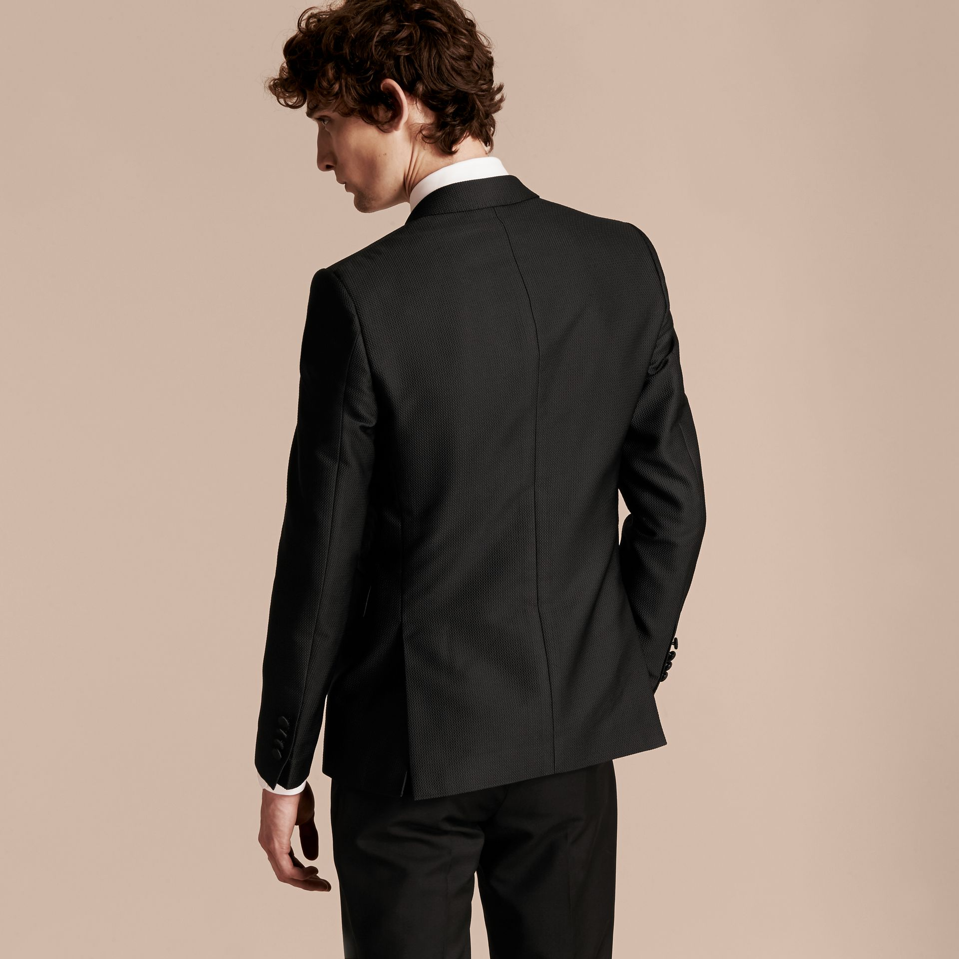 Black Slim Fit Half-canvas Evening Jacquard Jacket - gallery image 3