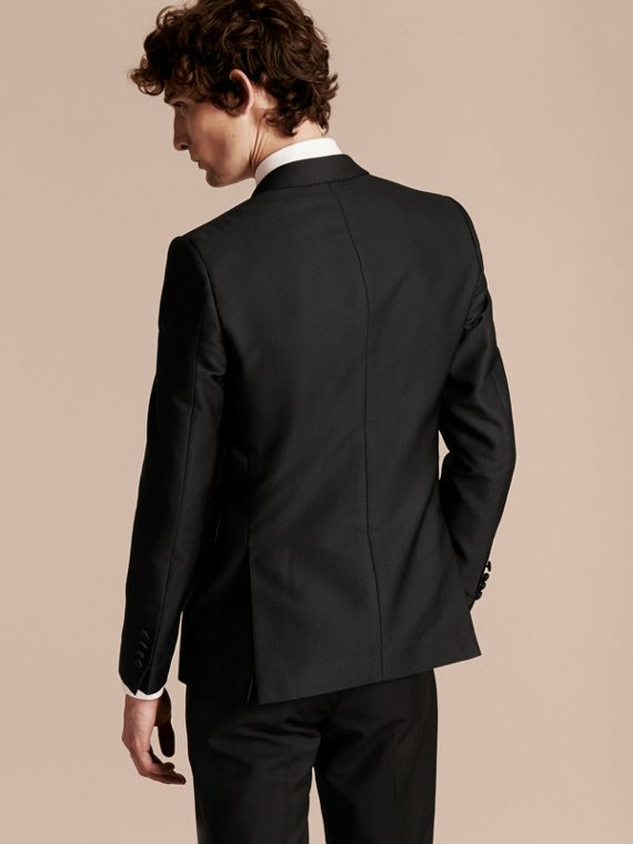 Black Slim Fit Half-canvas Evening Jacquard Jacket - cell image 2