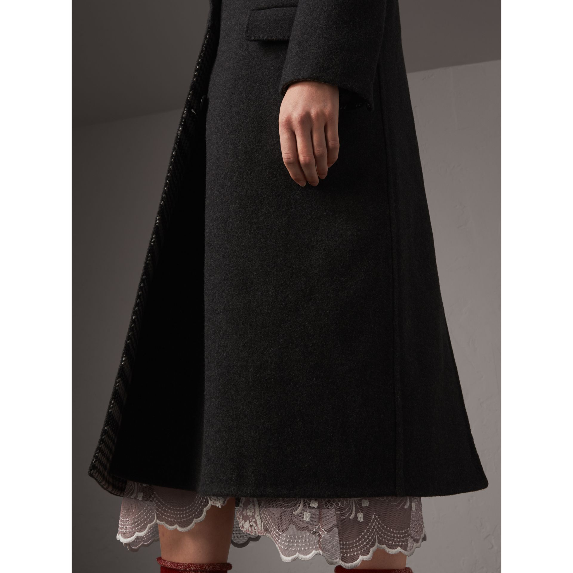 Wool Cashmere Double-breasted Coat in Grey/black - Women | Burberry Australia - gallery image 1