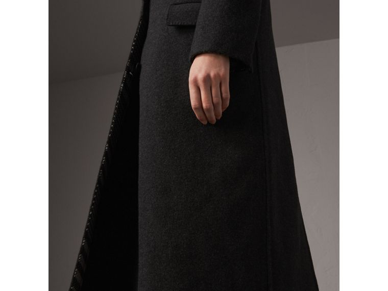 Wool Cashmere Double-breasted Coat in Grey/black - Women | Burberry Australia - cell image 1