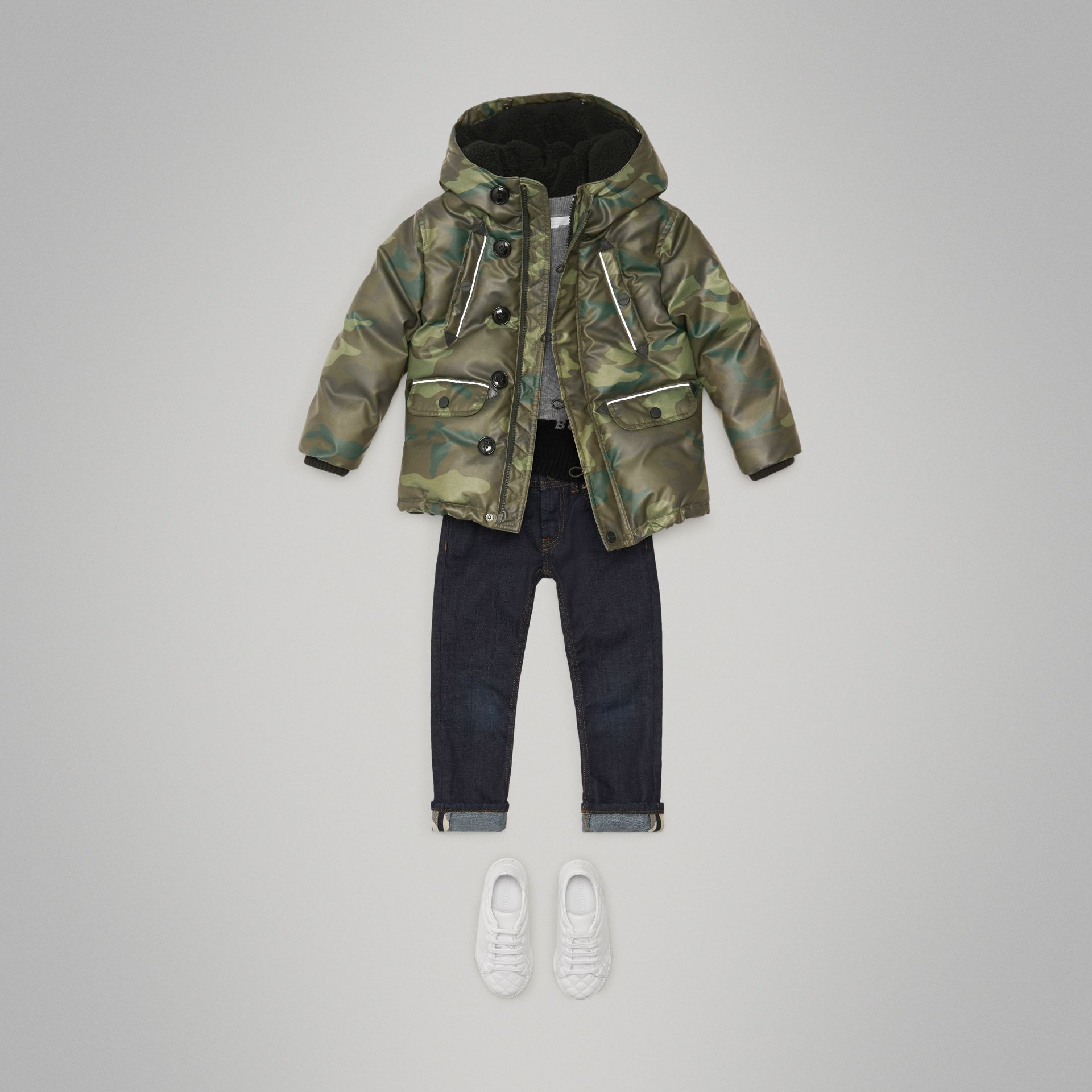 Camouflage Print Down-filled Puffer Jacket in Khaki | Burberry - gallery image 1