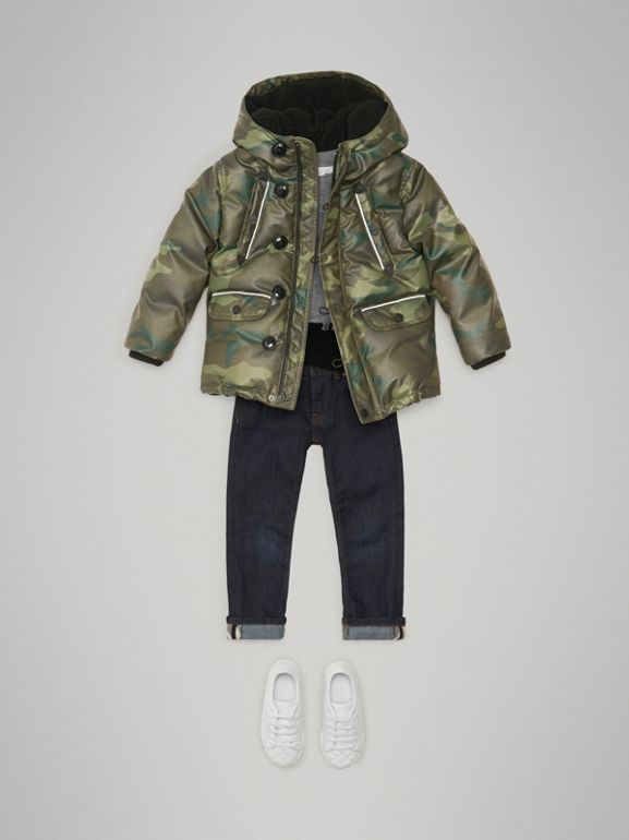 Camouflage Print Down-filled Puffer Jacket in Khaki | Burberry - cell image 1