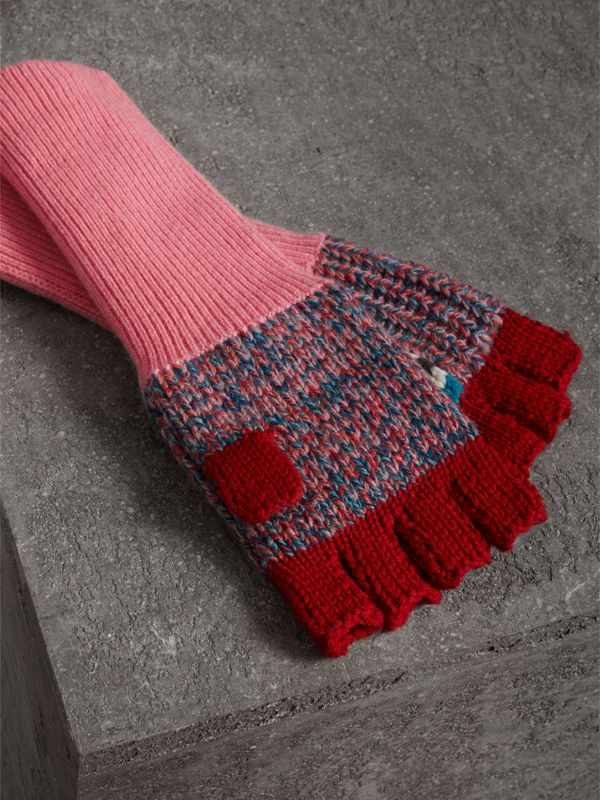 Wool Cashmere Patchwork Fingerless Gloves in Natural White/pink | Burberry - cell image 2