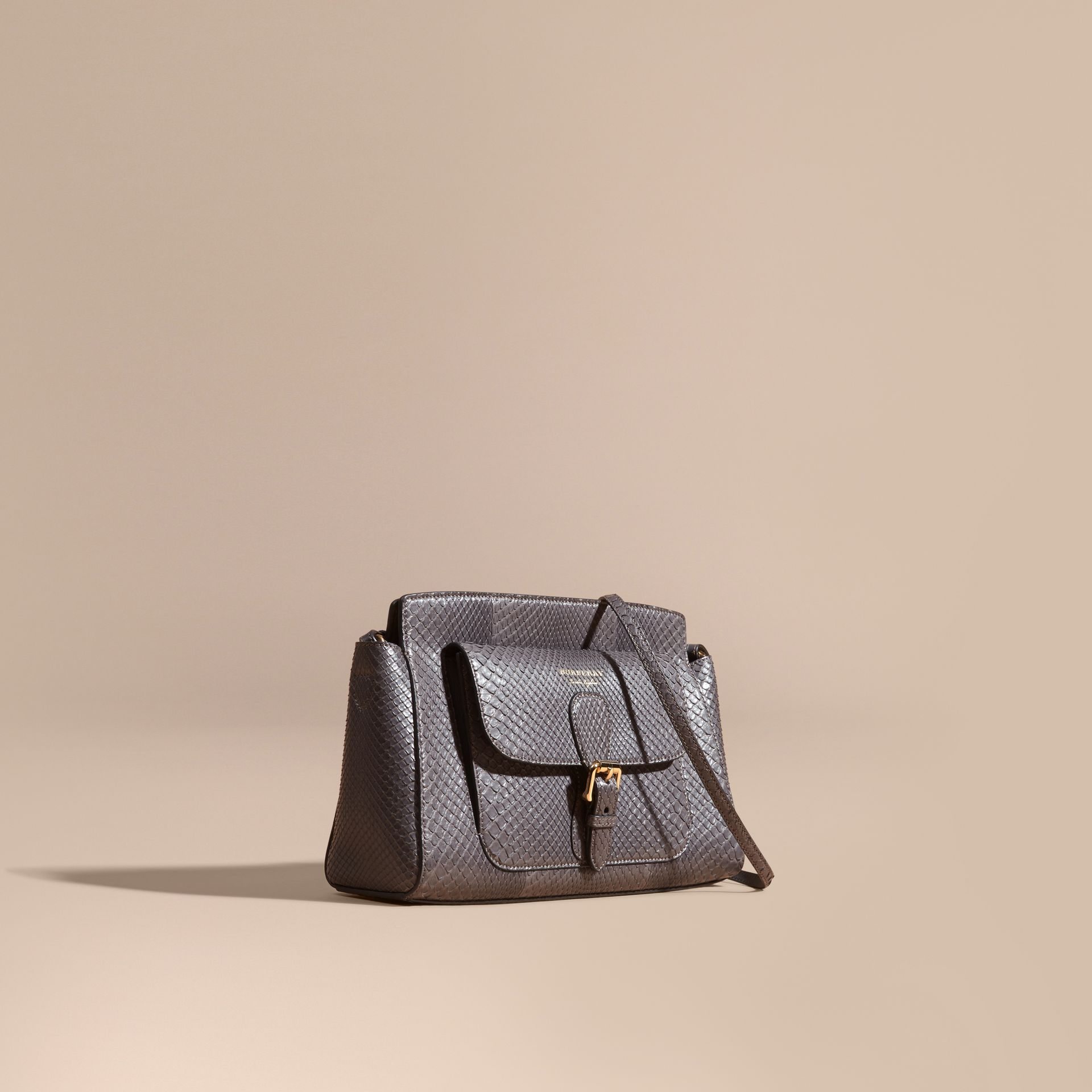 Sepia grey The Saddle Clutch in Python - gallery image 1