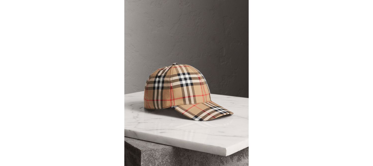 Basecap mit Vintage Check-Muster (Antikgelb)