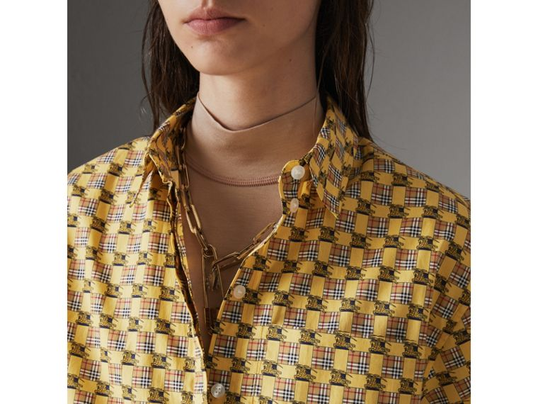 Short-sleeve Tiled Archive Print Cotton Shirt in Yellow - Women | Burberry United Kingdom - cell image 1