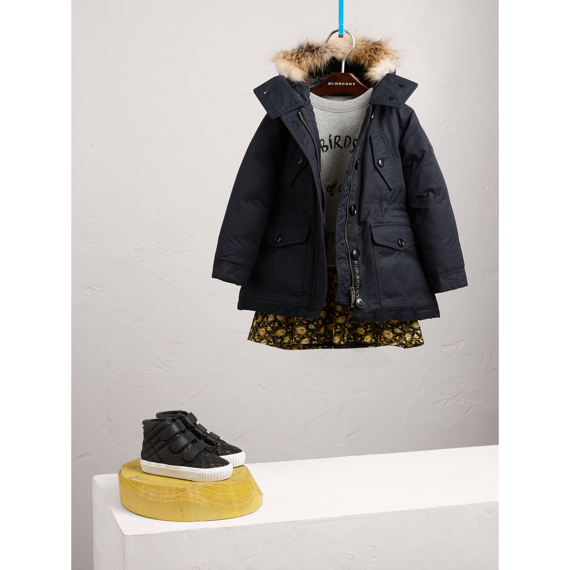 Detachable Fox Fur Trim Down-filled Hooded Puffer Coat in Navy - Girl | Burberry United States - gallery image 1