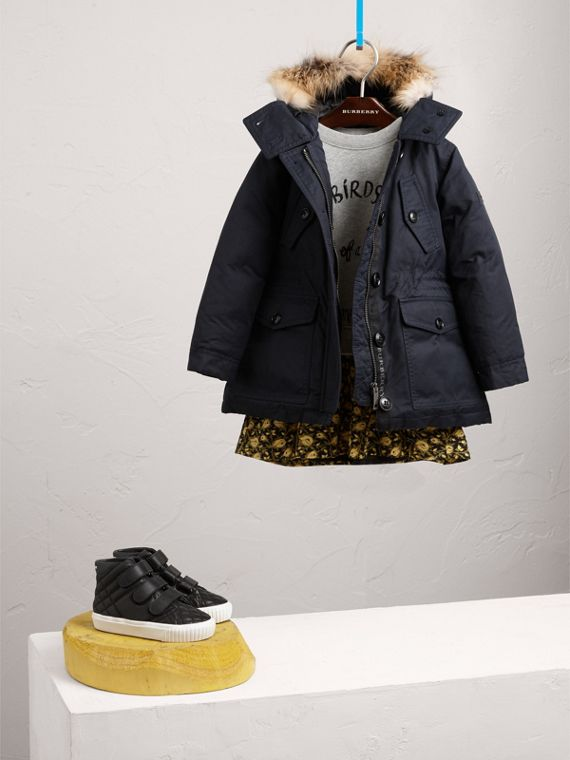 Detachable Fox Fur Trim Down-filled Hooded Puffer Coat in Navy