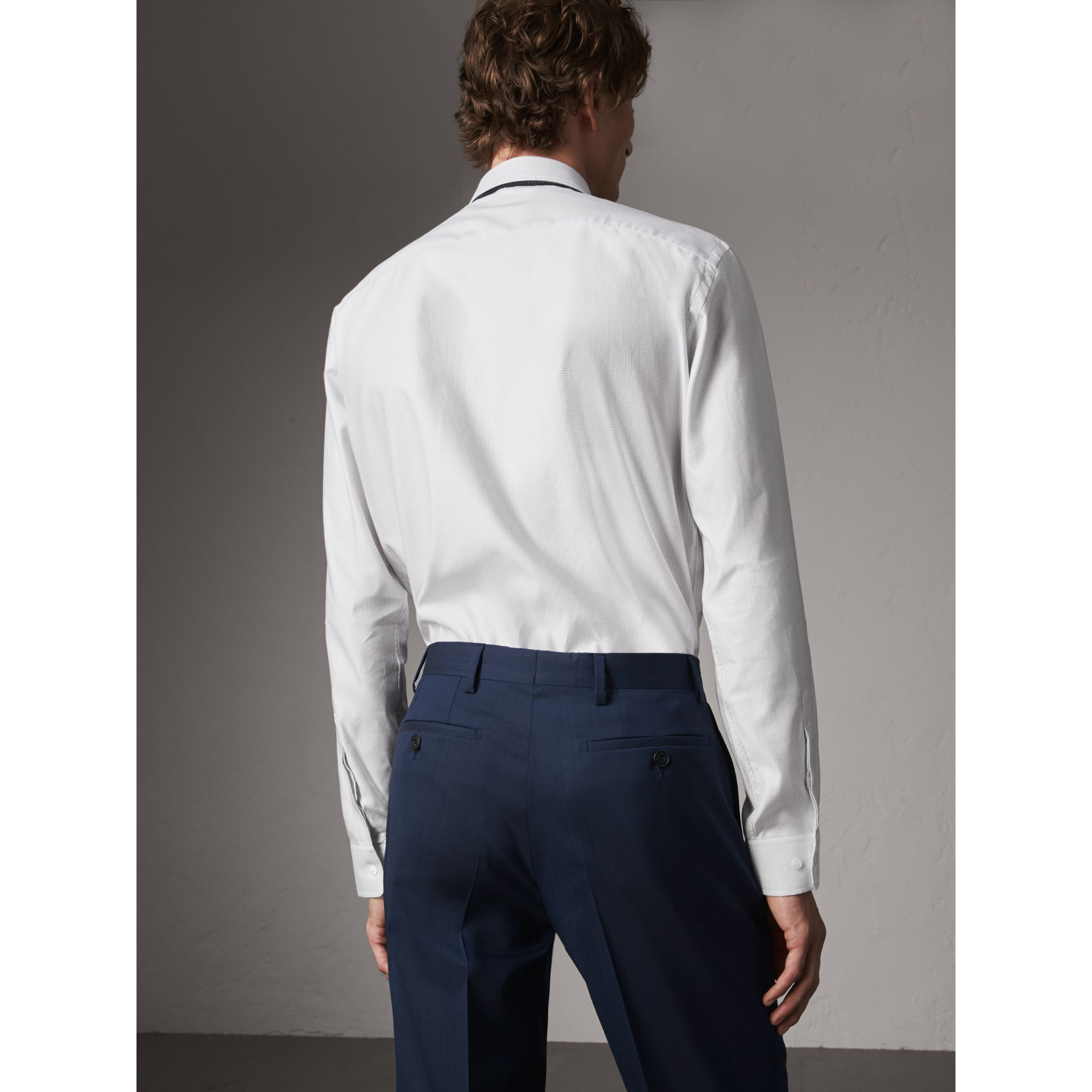 Modern Fit Pin Dot Dobby Cotton Shirt in White - Men | Burberry - gallery image 2