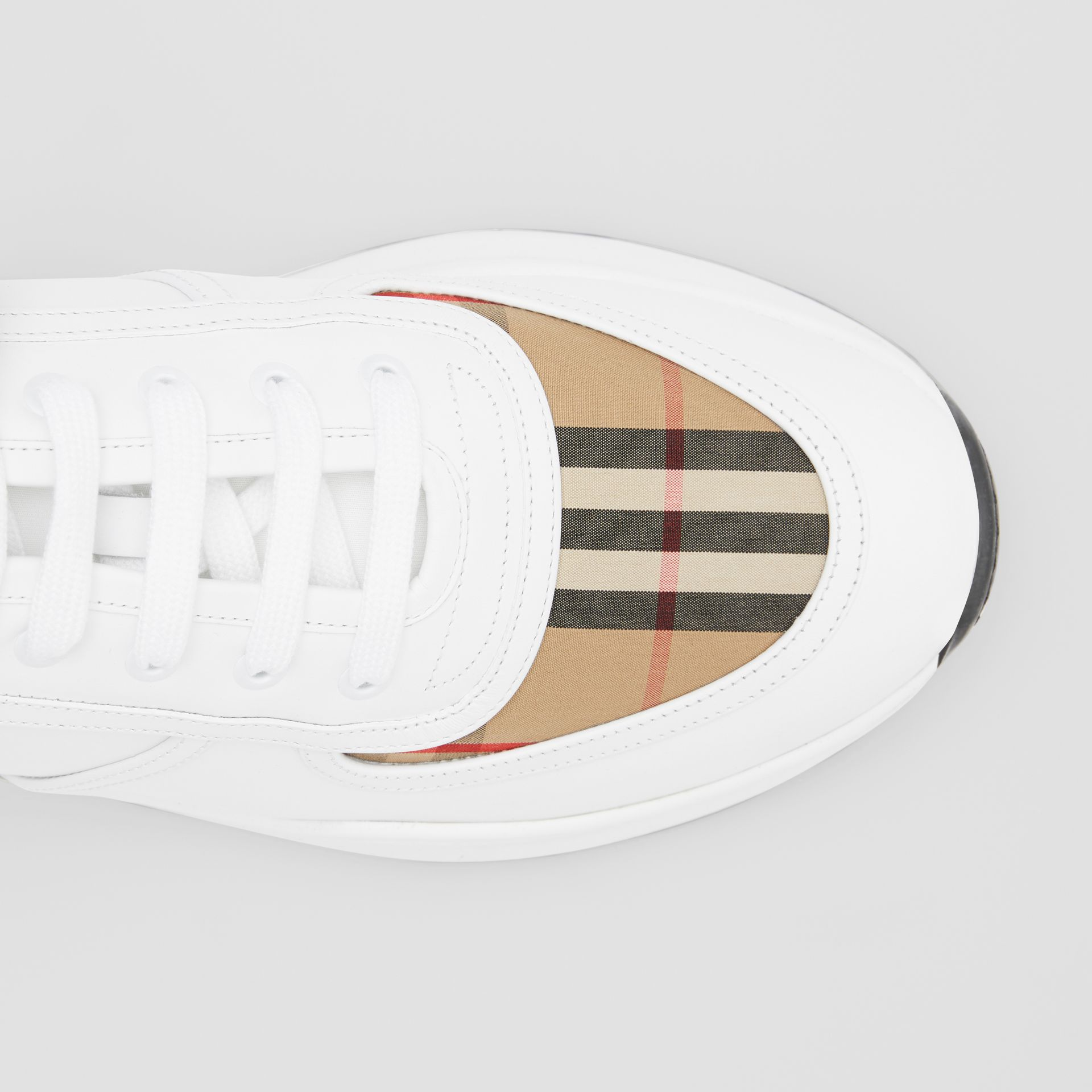 Logo Detail Leather and Vintage Check Sneakers in Archive Beige/white - Men | Burberry United Kingdom - gallery image 1