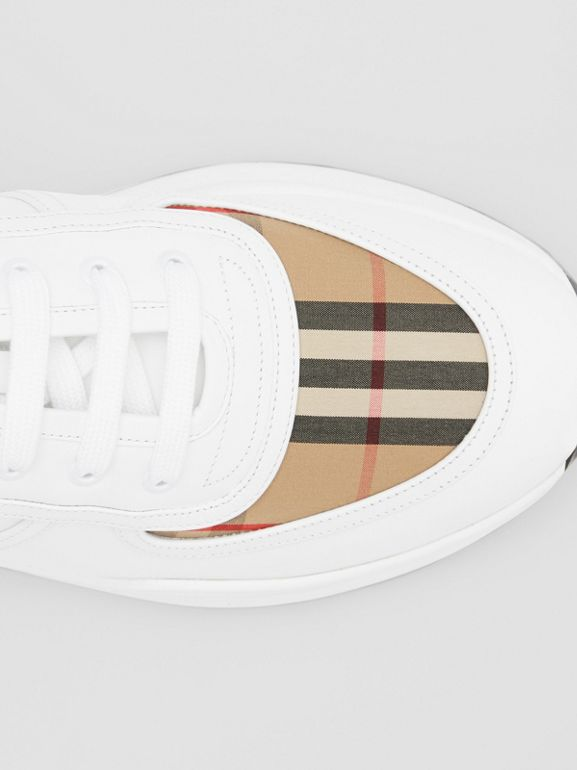 Logo Detail Leather and Vintage Check Sneakers in Archive Beige/white - Men | Burberry United Kingdom - cell image 1