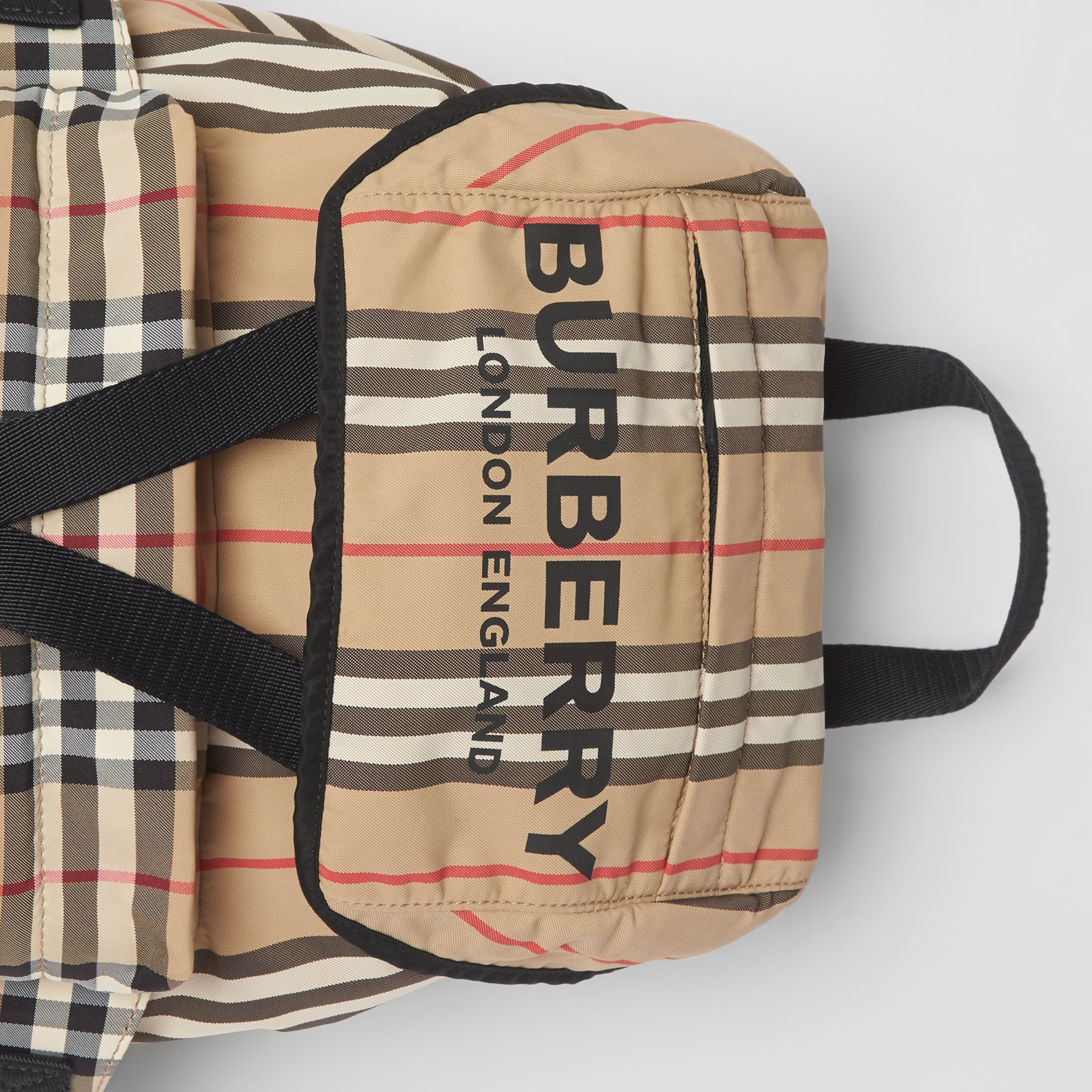 Logo Print Icon Stripe Nylon Backpack in Archive Beige - Women | Burberry United Kingdom - gallery image 1