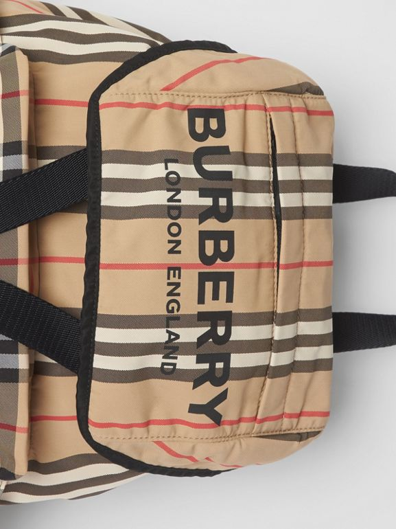 Logo Print Icon Stripe Nylon Backpack in Archive Beige - Women | Burberry United Kingdom - cell image 1