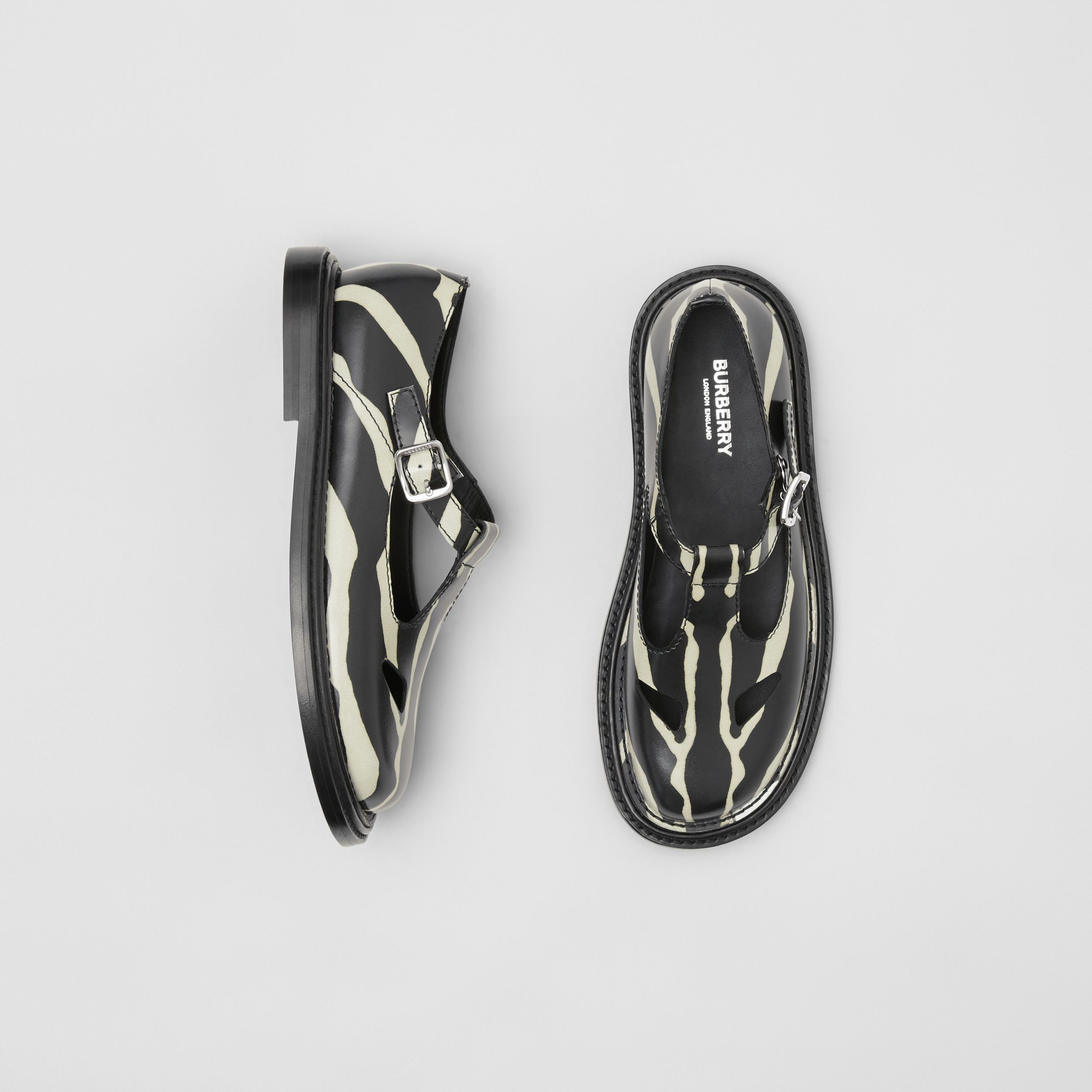 Zebra Print Leather T-bar Shoes in Black/white - Women | Burberry - 1