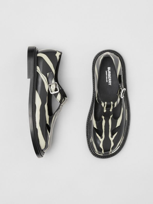 Zebra Print Leather T-bar Shoes in Black/white