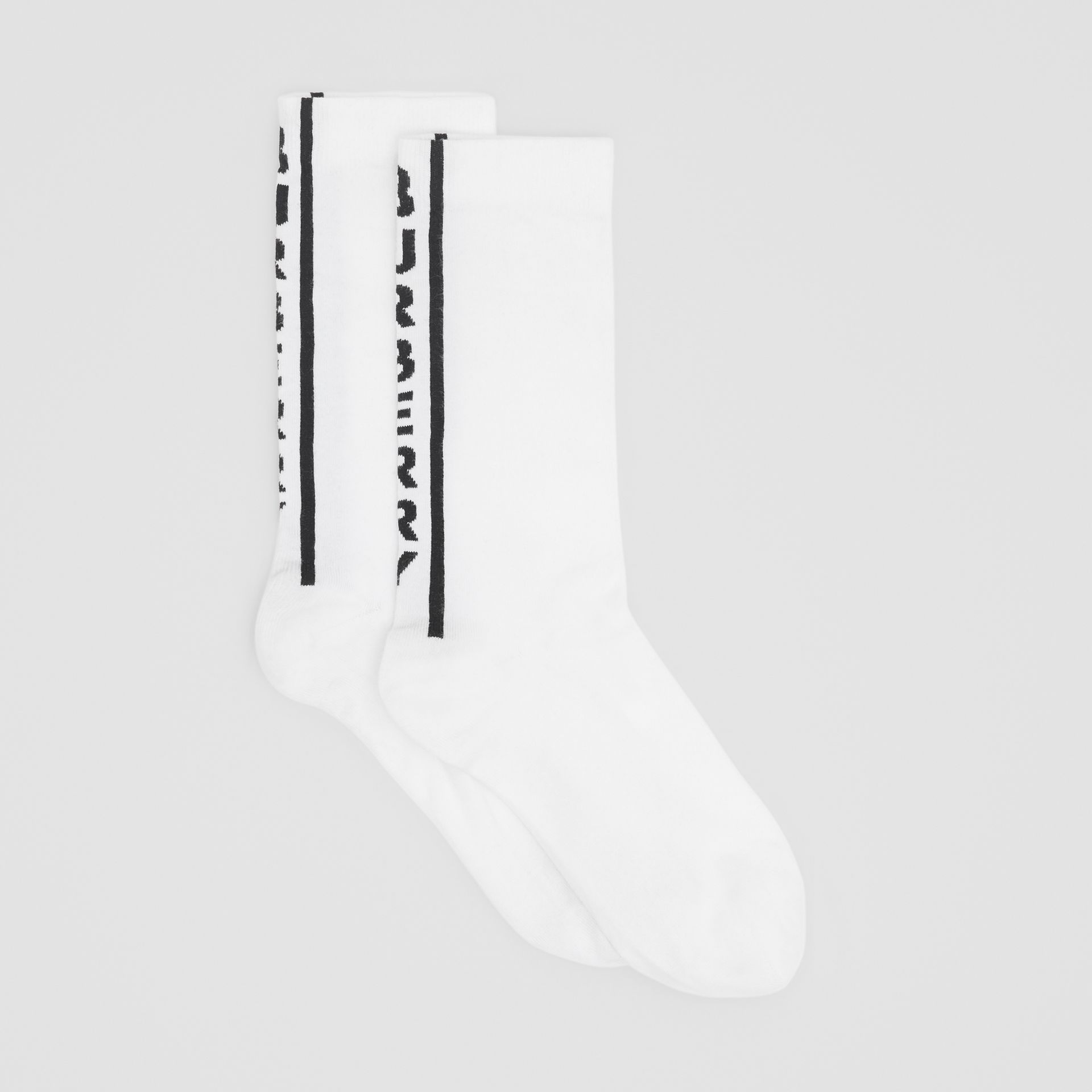 Logo Intarsia Cotton Blend Socks in Black/white | Burberry - gallery image 2
