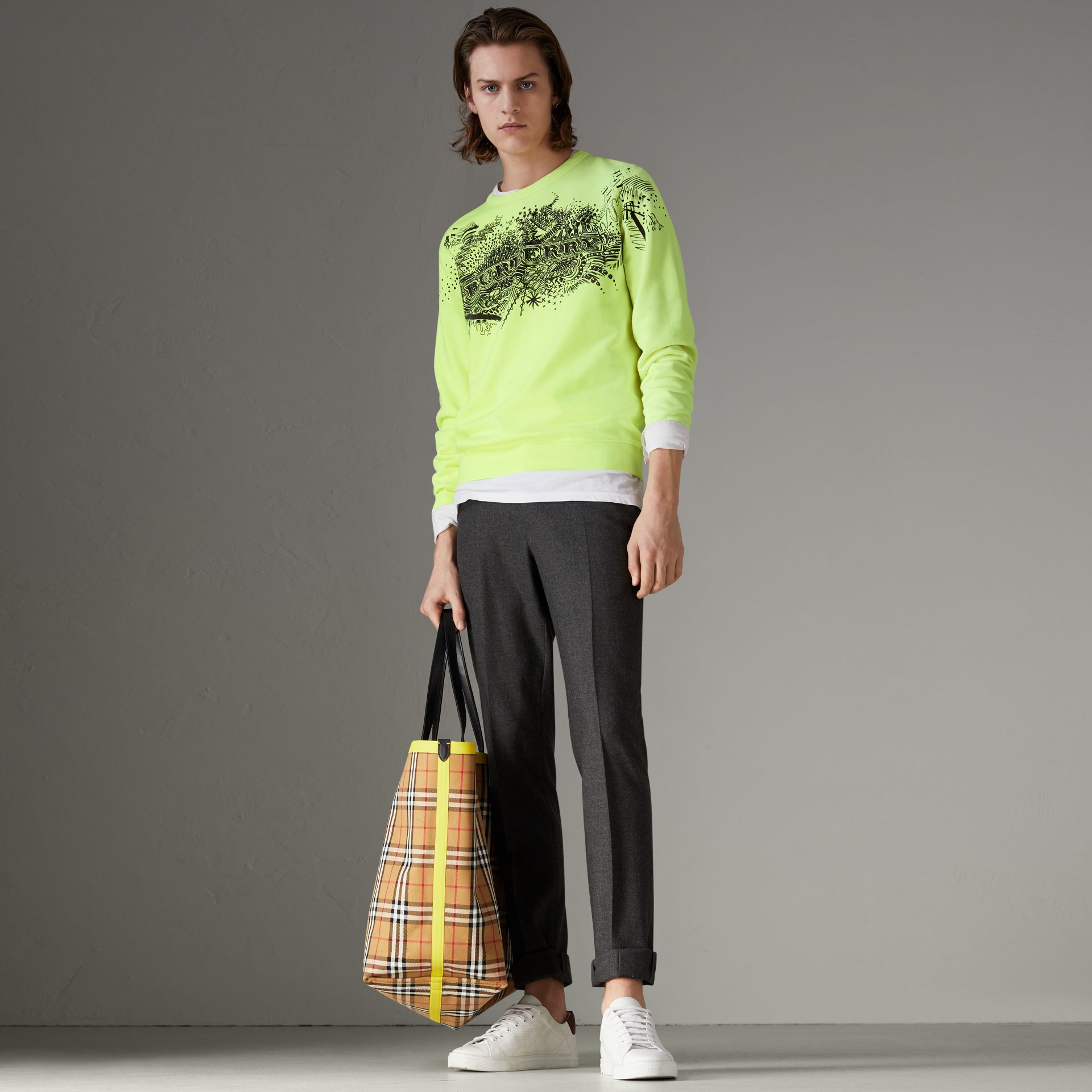 Doodle Print Cotton Sweatshirt in Bright Lemon - Men | Burberry Hong Kong - gallery image 0