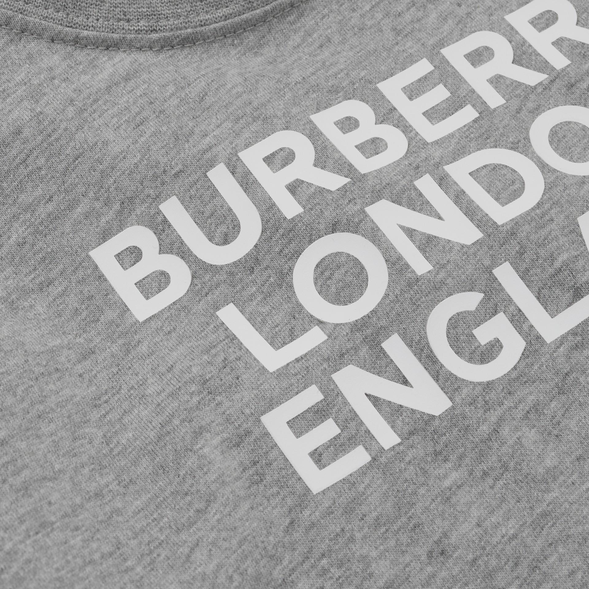 Logo Print Cotton T-shirt in Grey Melange - Children | Burberry - gallery image 1