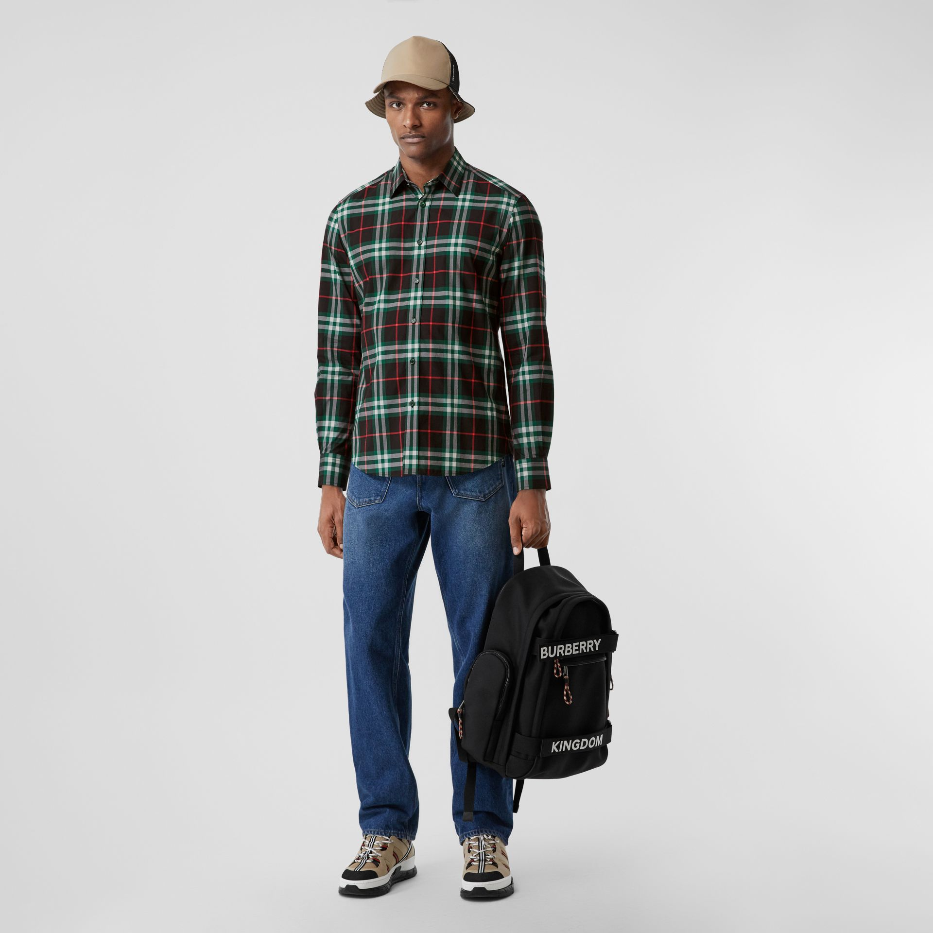 Check Cotton Poplin Shirt in Viridian Green - Men | Burberry - gallery image 4