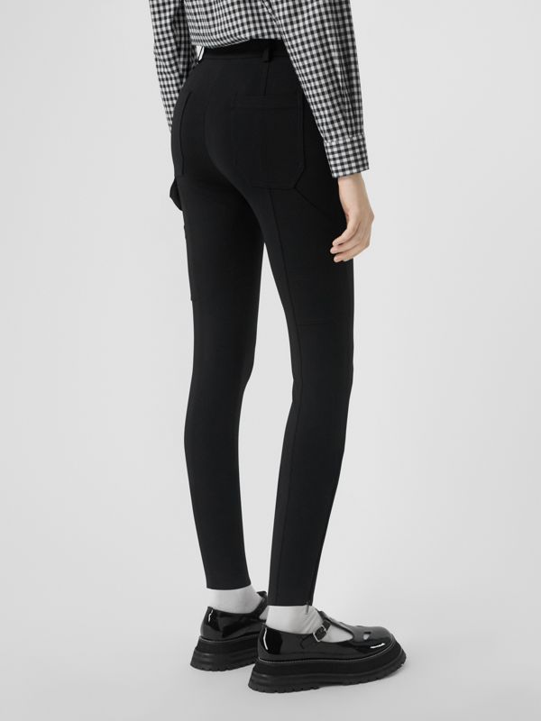 Strap Detail Stretch Crepe Jersey Trousers in Black - Women | Burberry - cell image 2