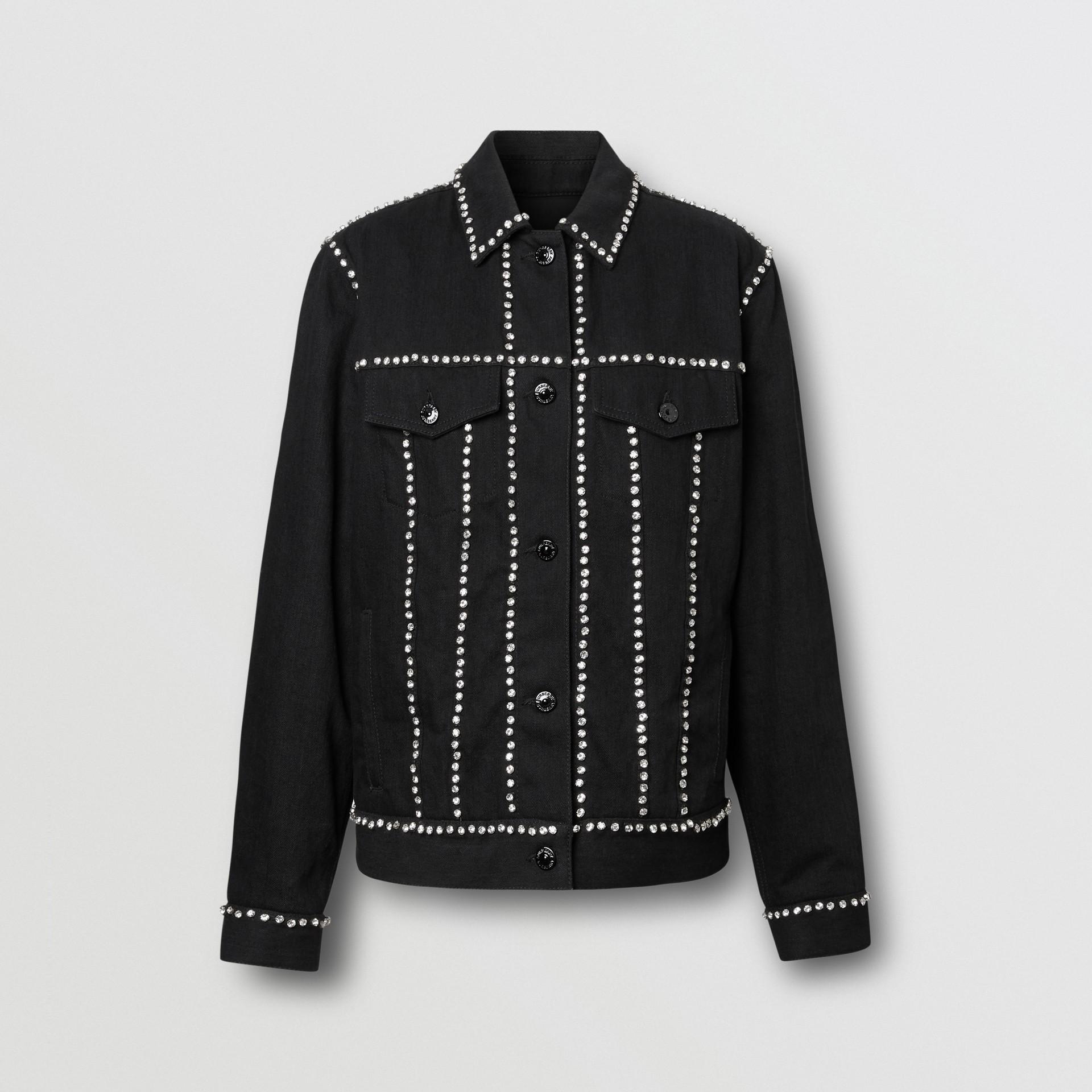 Crystal Logo Detail Japanese Denim Jacket in Black - Women | Burberry United Kingdom - gallery image 3