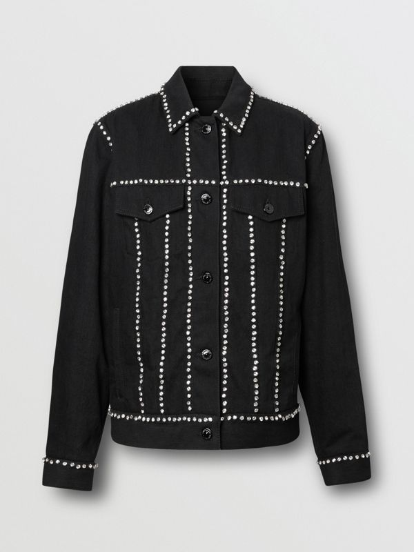 Crystal Logo Detail Japanese Denim Jacket in Black - Women | Burberry United Kingdom - cell image 3