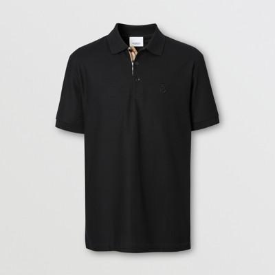 Monogram Motif Cotton Piqué Polo Shirt in Black - Men   Burberry United States
