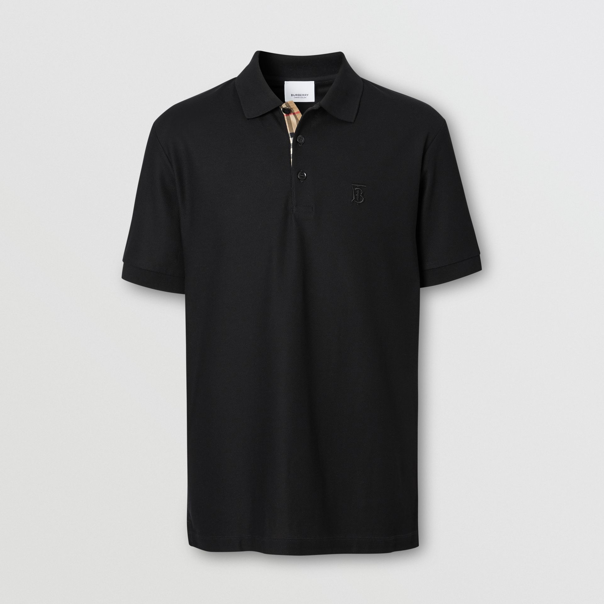 Monogram Motif Cotton Piqué Polo Shirt in Black - Men | Burberry Singapore - gallery image 3