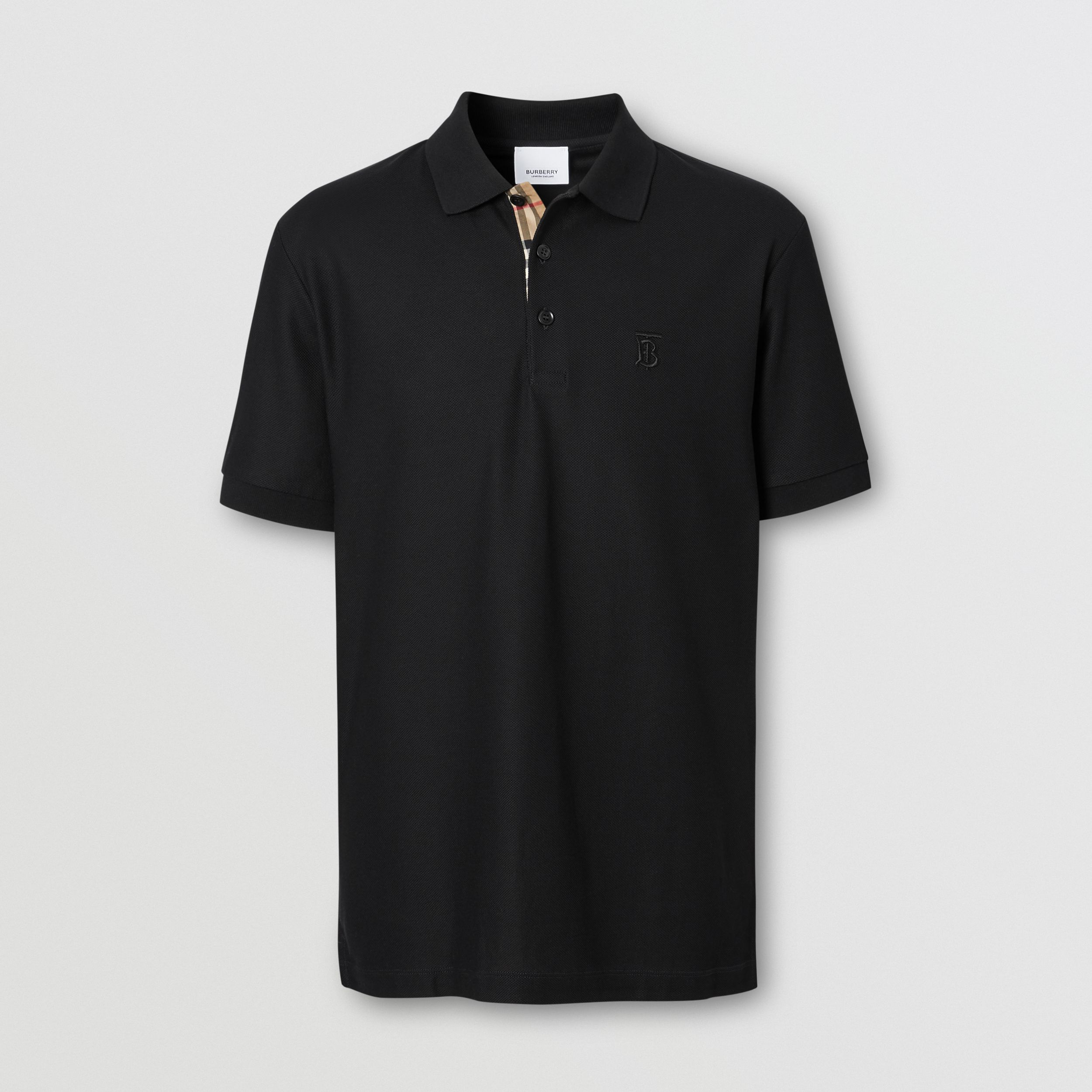 Monogram Motif Cotton Piqué Polo Shirt in Black - Men | Burberry Canada - 4