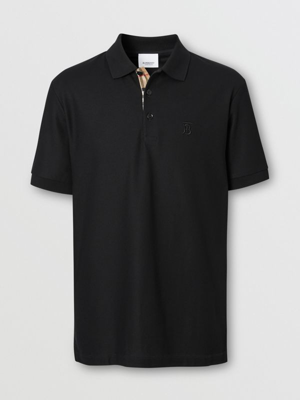 Monogram Motif Cotton Piqué Polo Shirt in Black - Men | Burberry Singapore - cell image 3