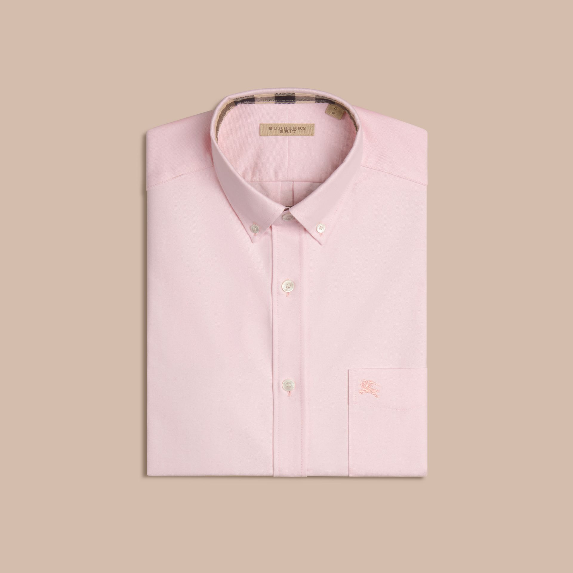 Check Detail Cotton Oxford Shirt in Pale Pink - gallery image 4