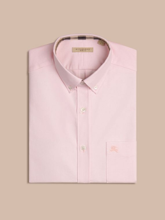 Check Detail Cotton Oxford Shirt in Pale Pink - cell image 3