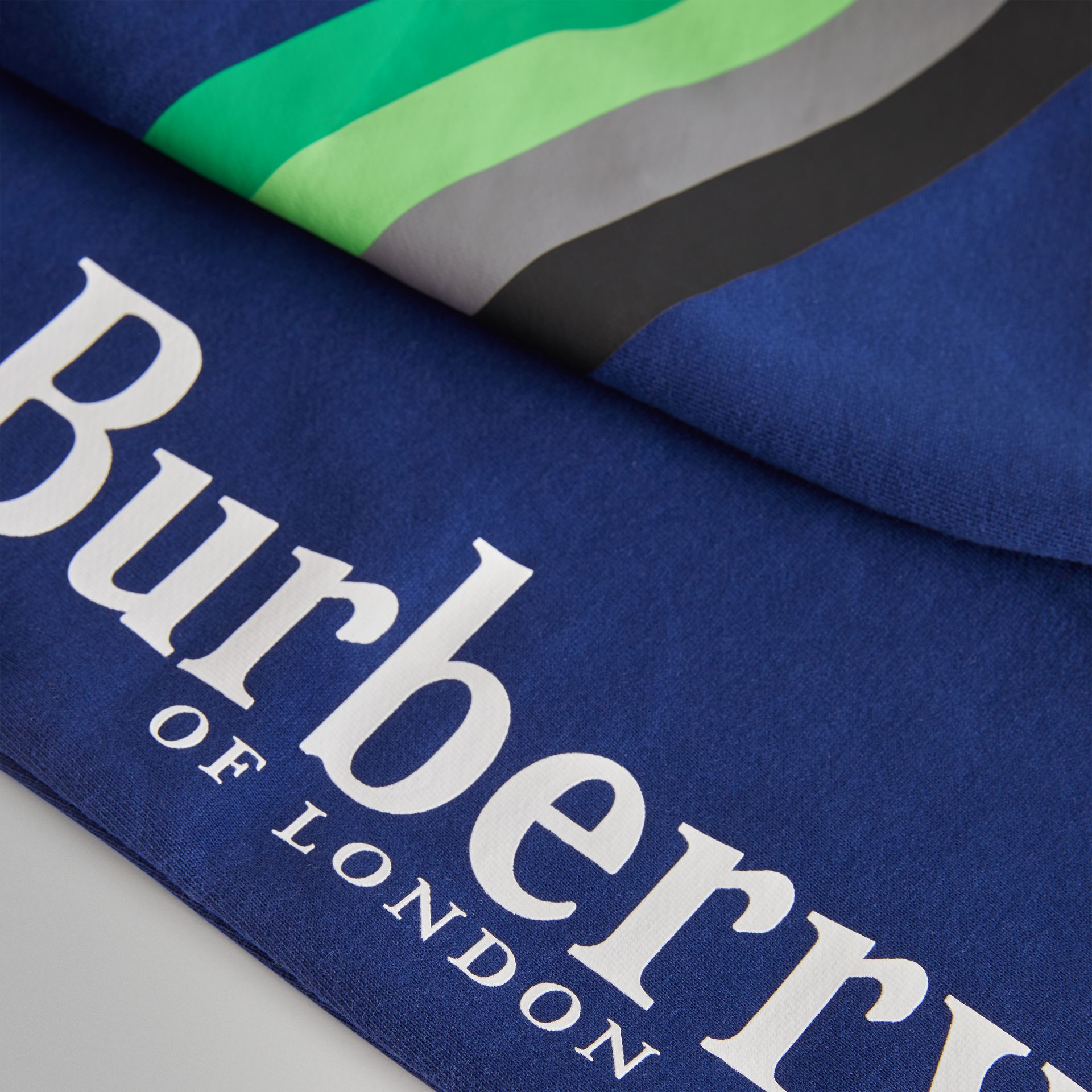 Archive Logo Print Cotton Trackpants in Canvas Blue | Burberry United Kingdom - gallery image 1