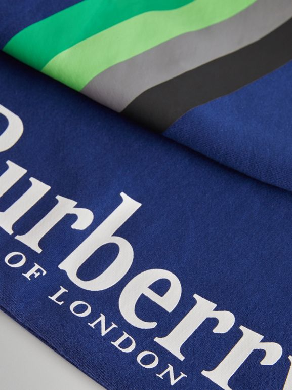 Archive Logo Print Cotton Trackpants in Canvas Blue | Burberry United Kingdom - cell image 1