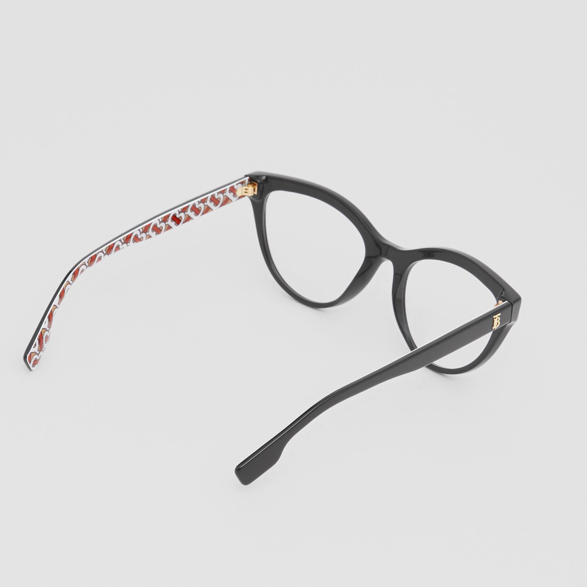 Monogram Print Detail Cat-eye Optical Frames in Black/vermilion - Women | Burberry - gallery image 4