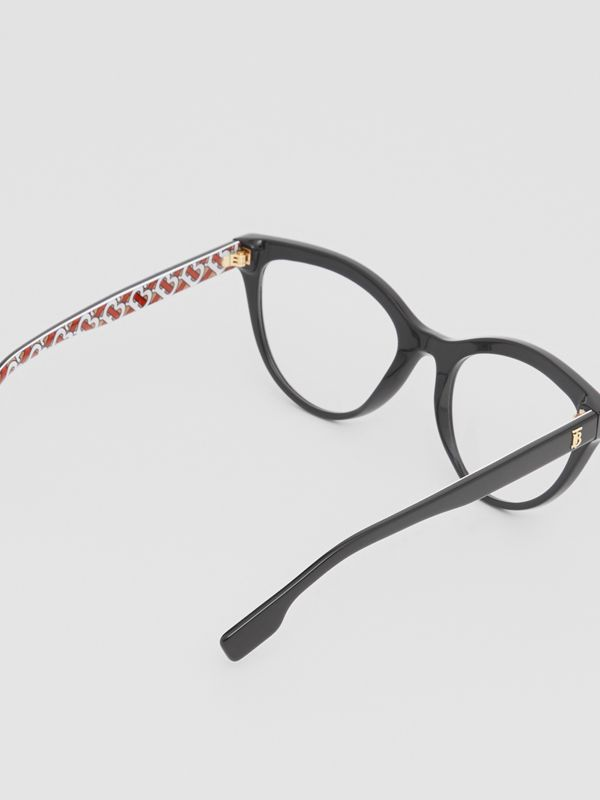 Monogram Print Detail Cat-eye Optical Frames in Black/vermilion - Women | Burberry - cell image 3