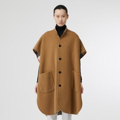 Burberry - Poncho reversible en mezcla de lana a cuadros - 7