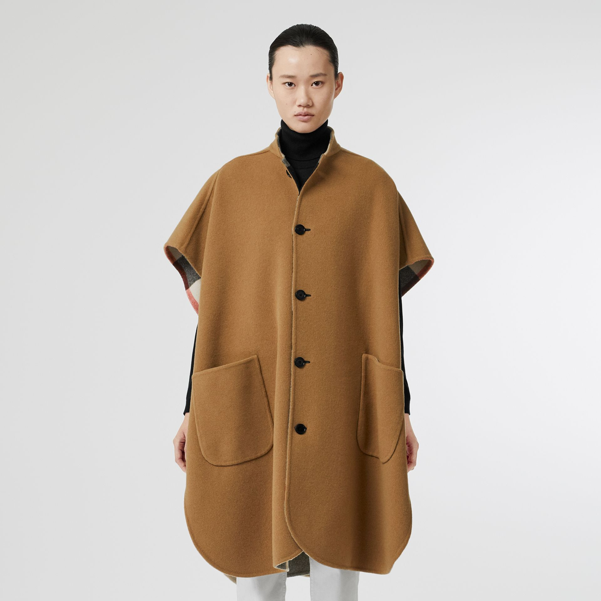 Reversible Check Wool Blend Poncho in Camel - Women | Burberry - gallery image 6