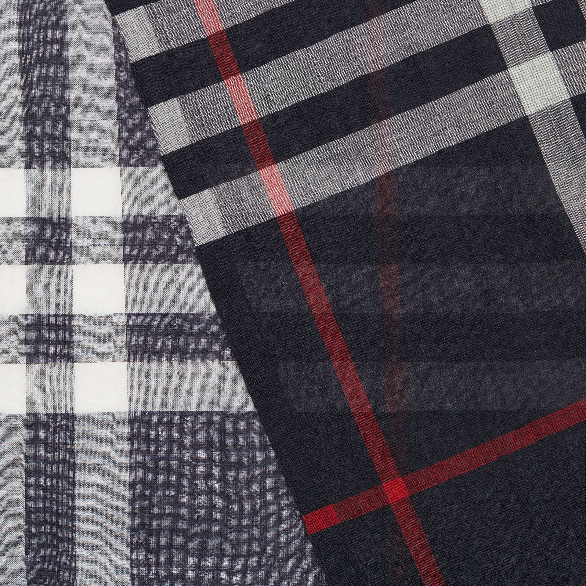 Lightweight Check Wool and Silk Scarf in Navy | Burberry Australia - gallery image 1