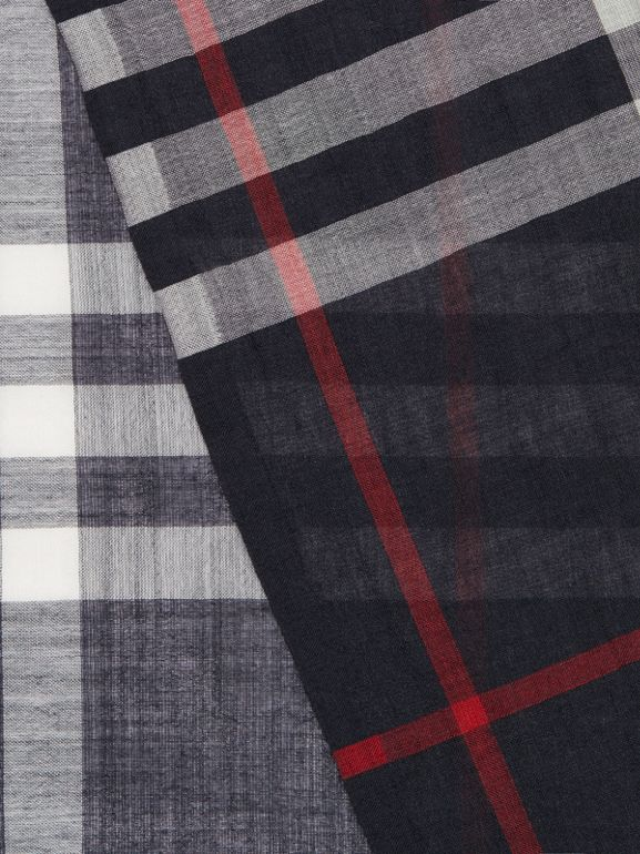Lightweight Check Wool and Silk Scarf in Navy | Burberry Australia - cell image 1