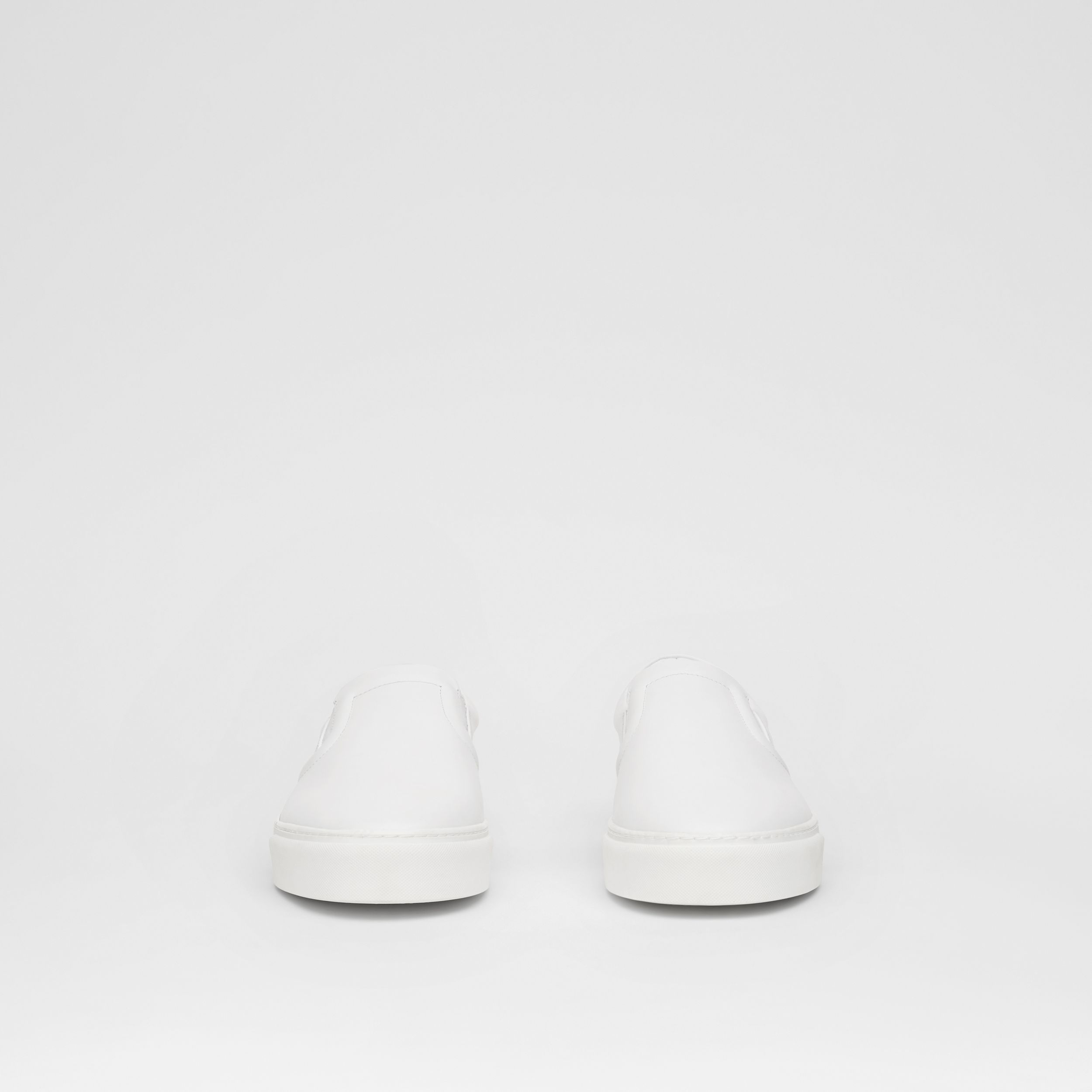 Bio-based Sole Leather Slip-on Sneakers in Optic White - Women | Burberry - 4