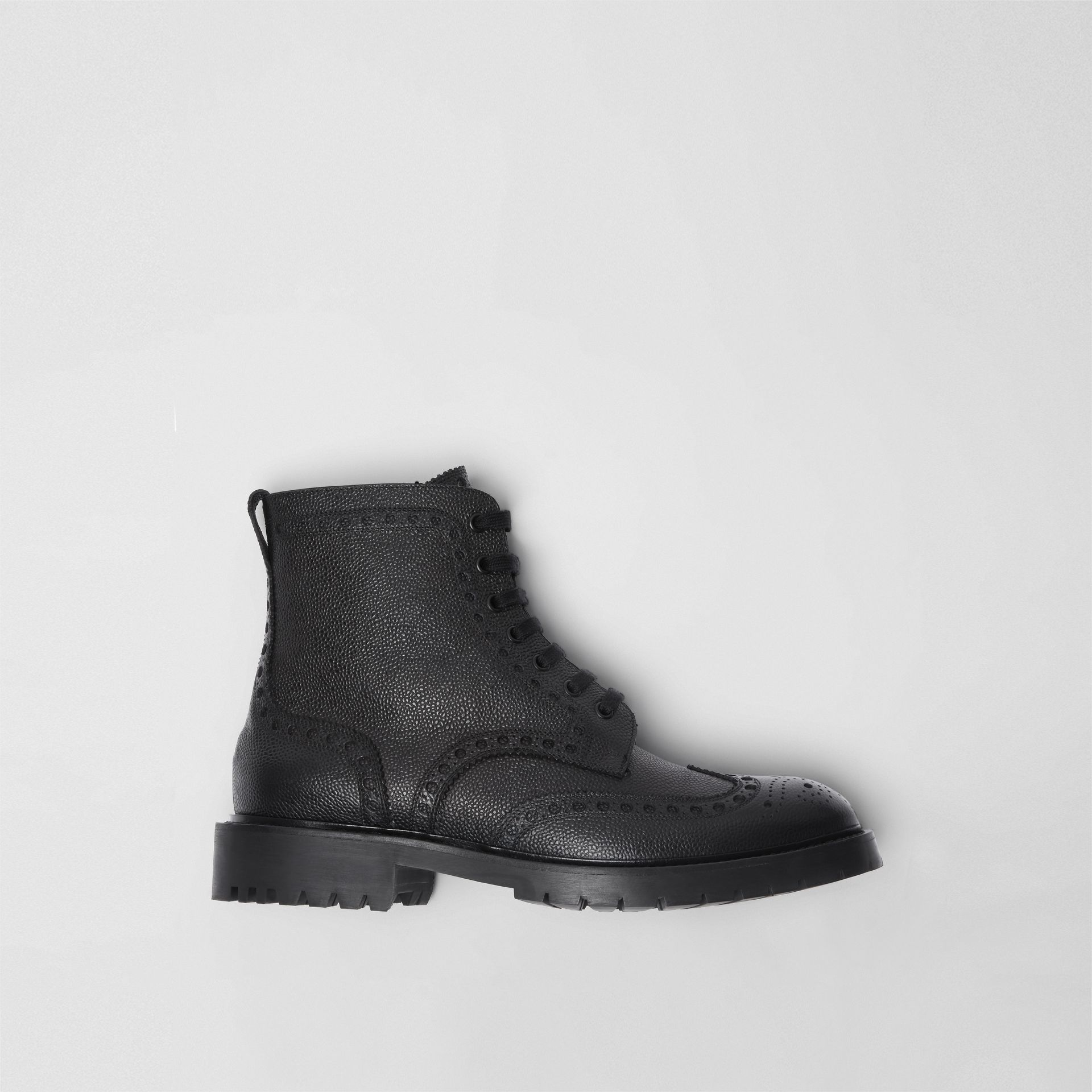 Brogue Detail Grainy Leather Boots in Black - Men | Burberry Canada - gallery image 0
