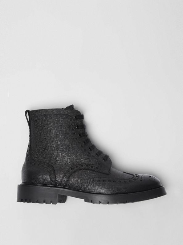 Brogue Detail Grainy Leather Boots in Black