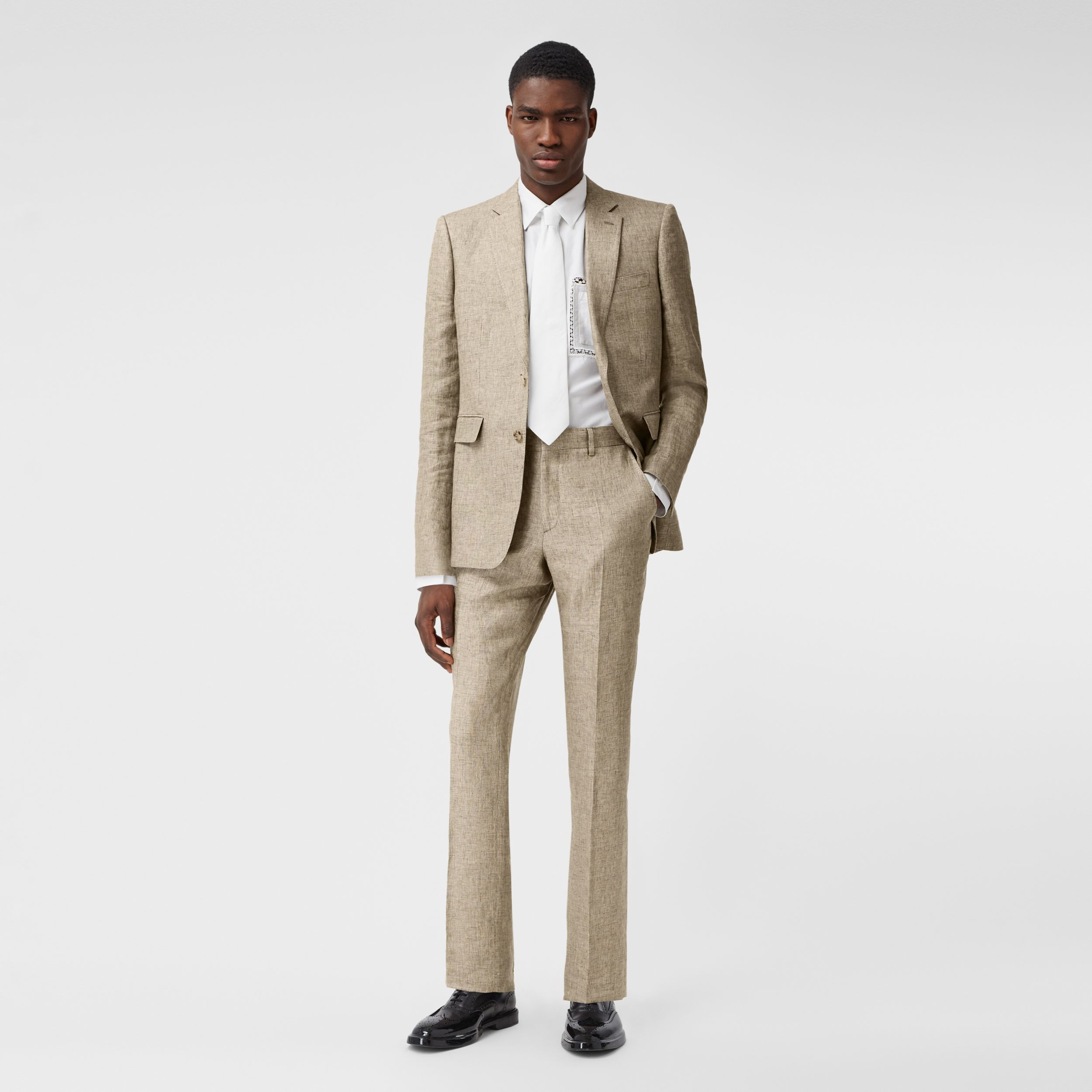 Classic Fit Linen Tailored Trousers in Cedar Brown Melange - Men | Burberry - 1