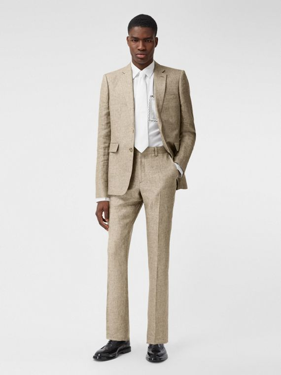 Classic Fit Linen Tailored Trousers in Cedar Brown Melange
