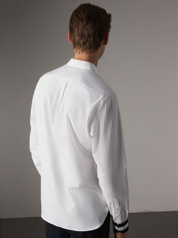 Striped Cuff Stretch Cotton Shirt in White - Men | Burberry - cell image 2