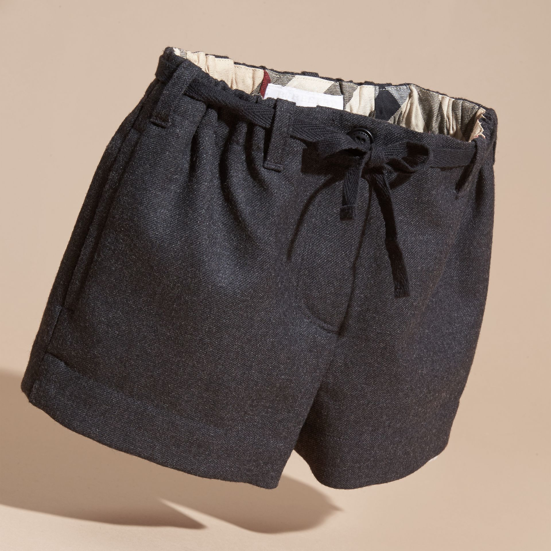 Charcoal melange Belted Wool Flannel Shorts - gallery image 3
