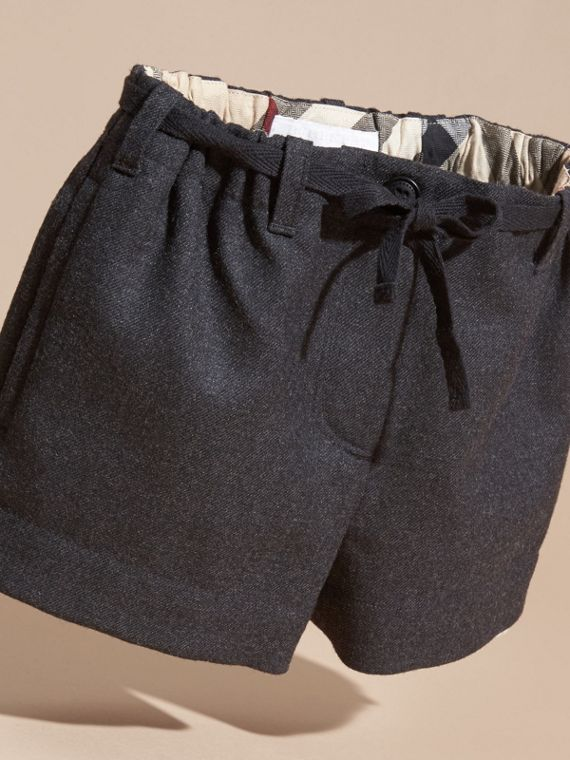Charcoal melange Belted Wool Flannel Shorts - cell image 2